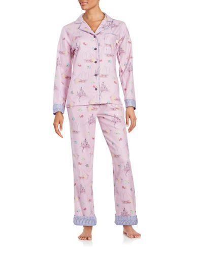 Disney By Munki Munki Sleeping Beauty Flannel Classic Pajama Set Women 7da4314fb
