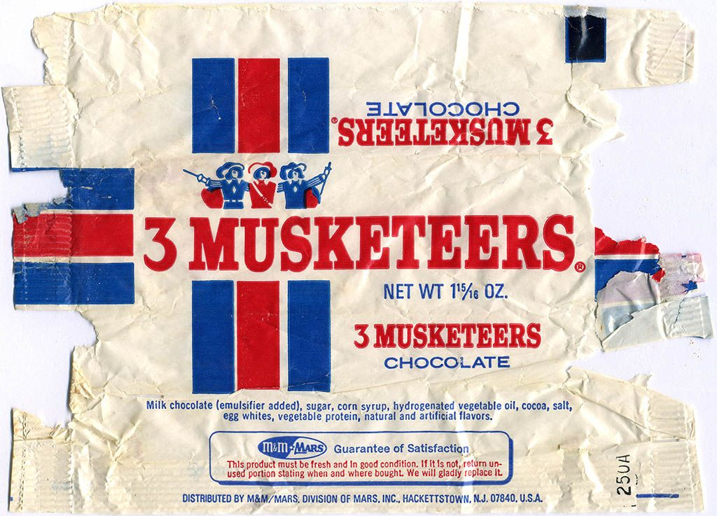 CC_M&M Mars - 3 Musketeers candy bar wrapper - 1970's | Candy bar wrappers,  Vintage candy bars, Retro candy