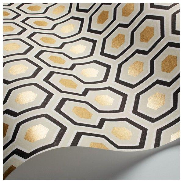 Papier peint Hicks Hexagon   Black white gold and Contemporary