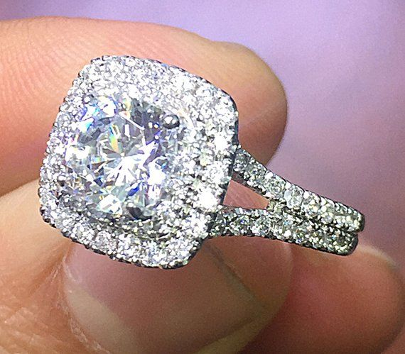 fb60f43591a8e 14k White Gold Cushion Cut Forever One Moissanite and Natural ...