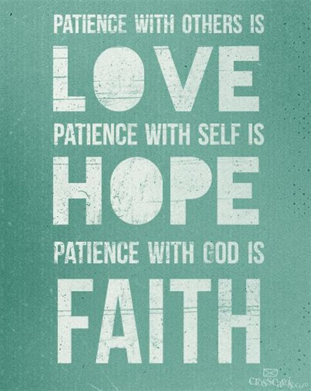 Attractive Love, Hope, Faith, And Patience Quote