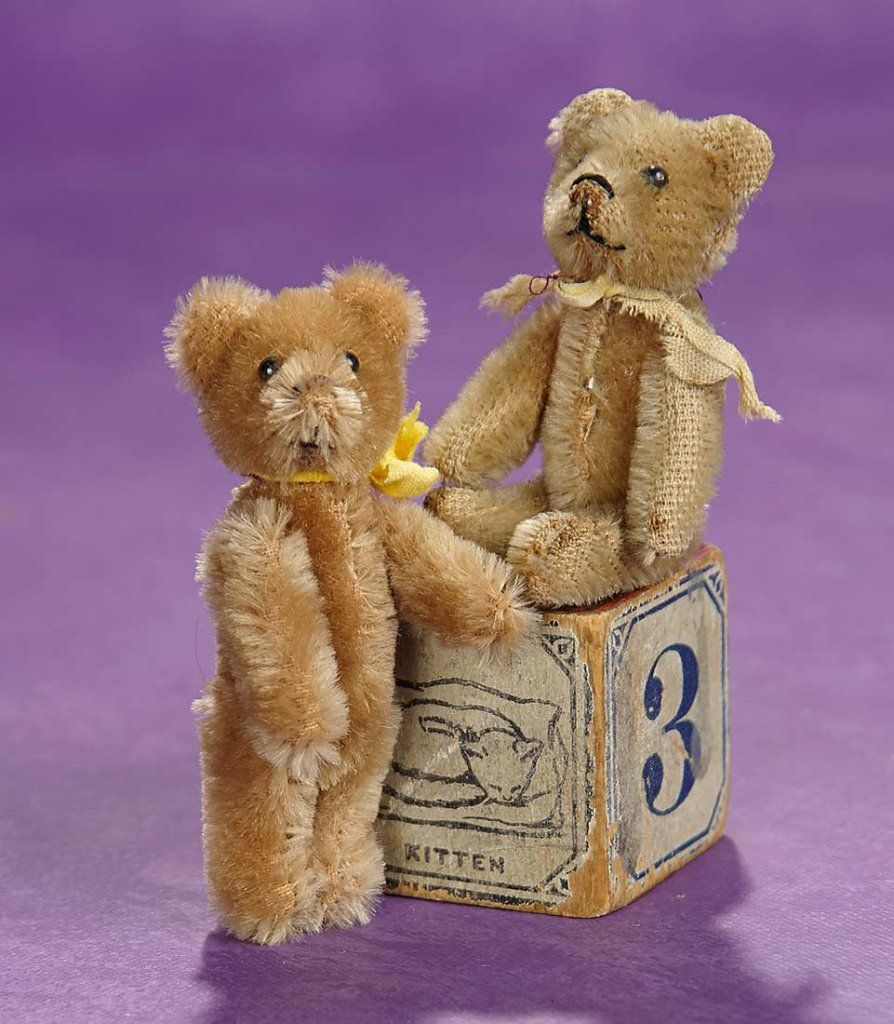 Teddy bear toys images  Elan Auction  June    Two German Miniature Mohair Teddy