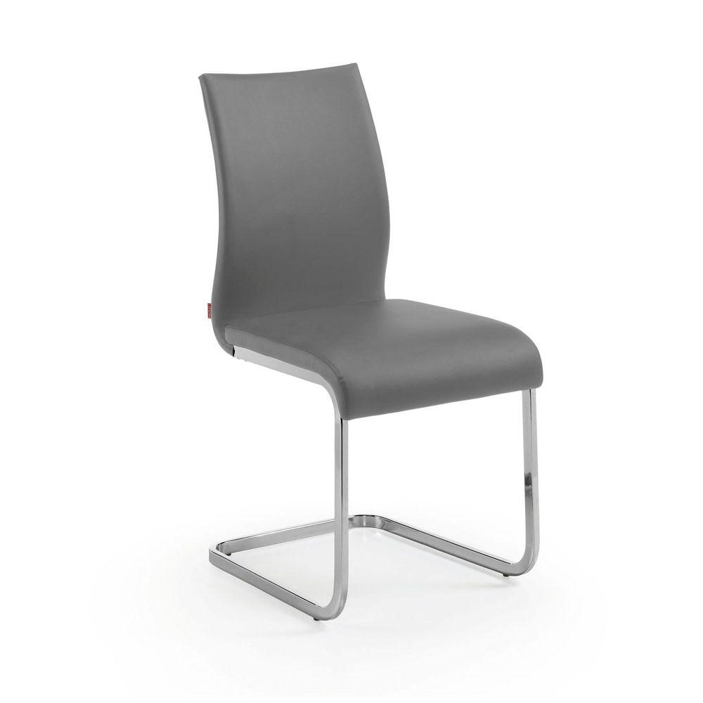 Silla moderna tribecca polipiel gris sillas de comedor for Sillas comedor modernas polipiel