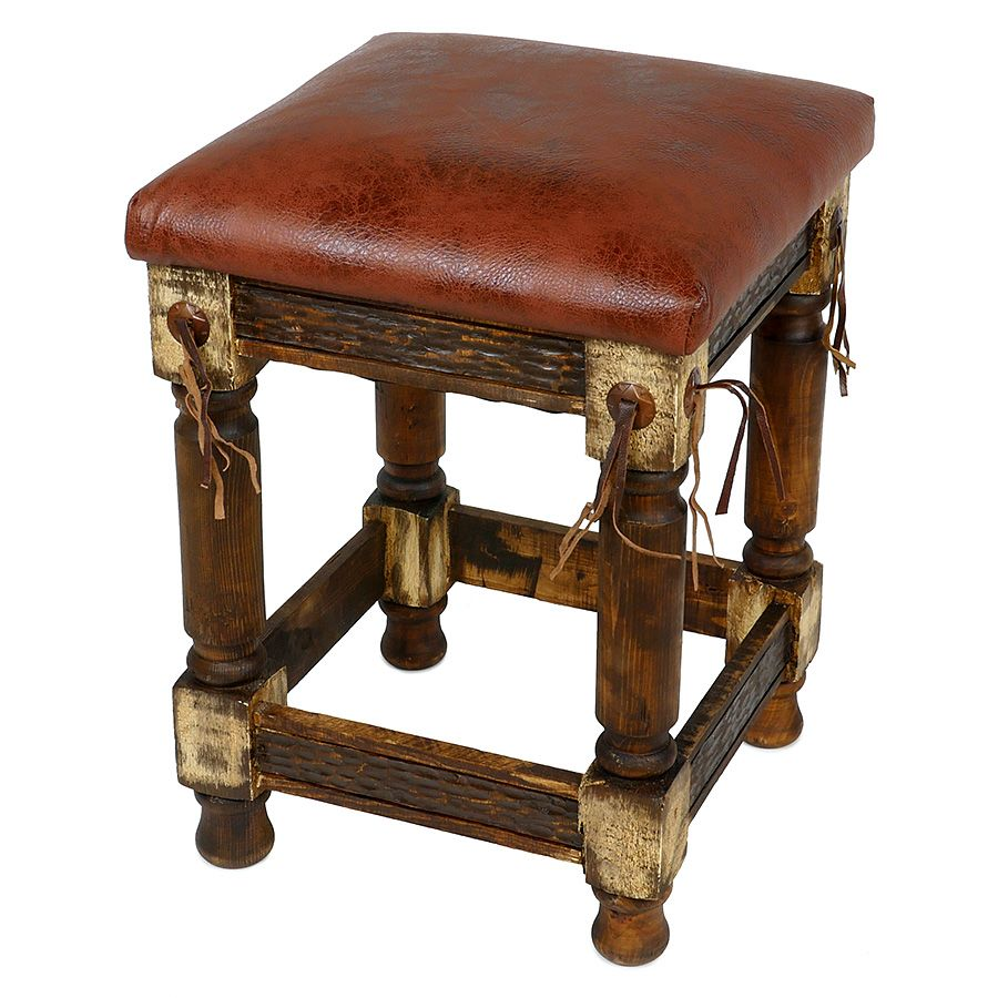 Rustic Western Stool With Faux Leather Cushioned Seat In