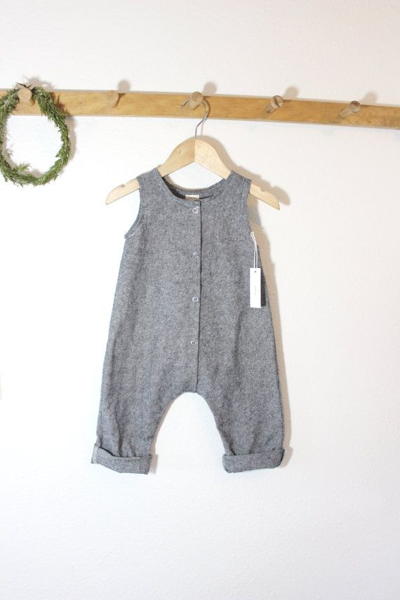 db3cb45f9 Made to Order Baby Linen Cotton Snap Up Romper in Grey Black