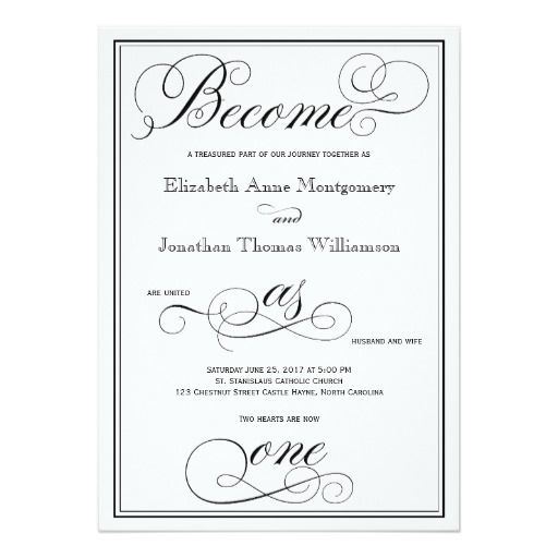 Elegant Become As One Christian Wedding Invitation