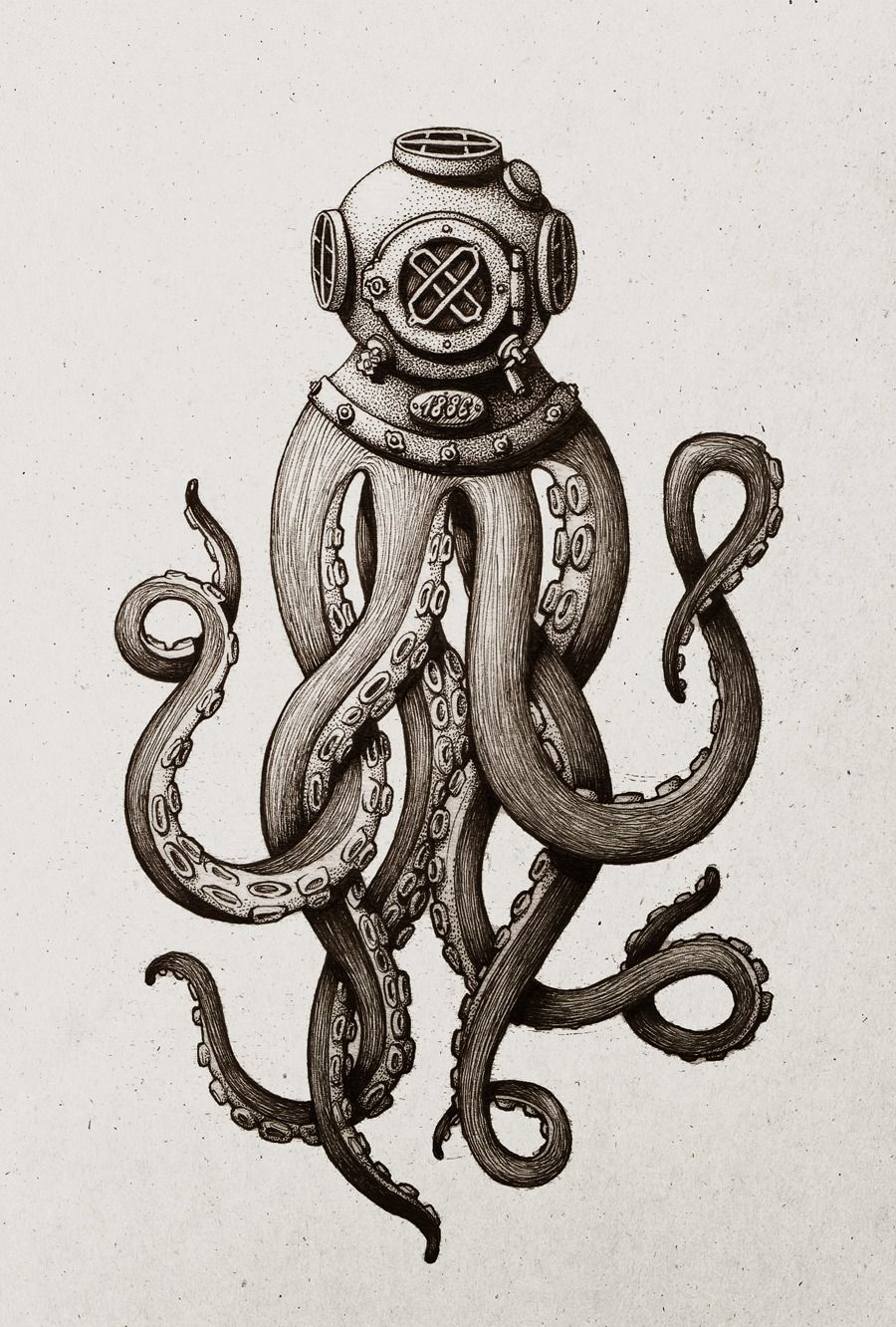 Ink drawing of an octopus an antique diving helmet. | Artistic ...