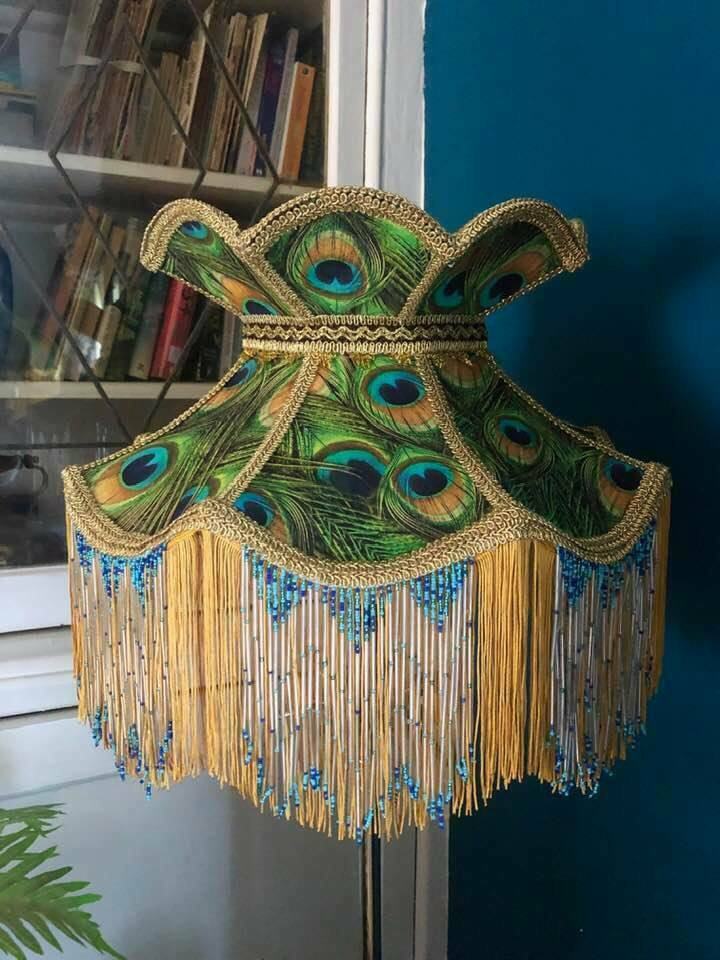 Victorian Lampshade Peacock Crown Fringed Beaded Lampshade 16 Inches In 2020 Lamp Shades Vintage Lampshades Peacock Fabric