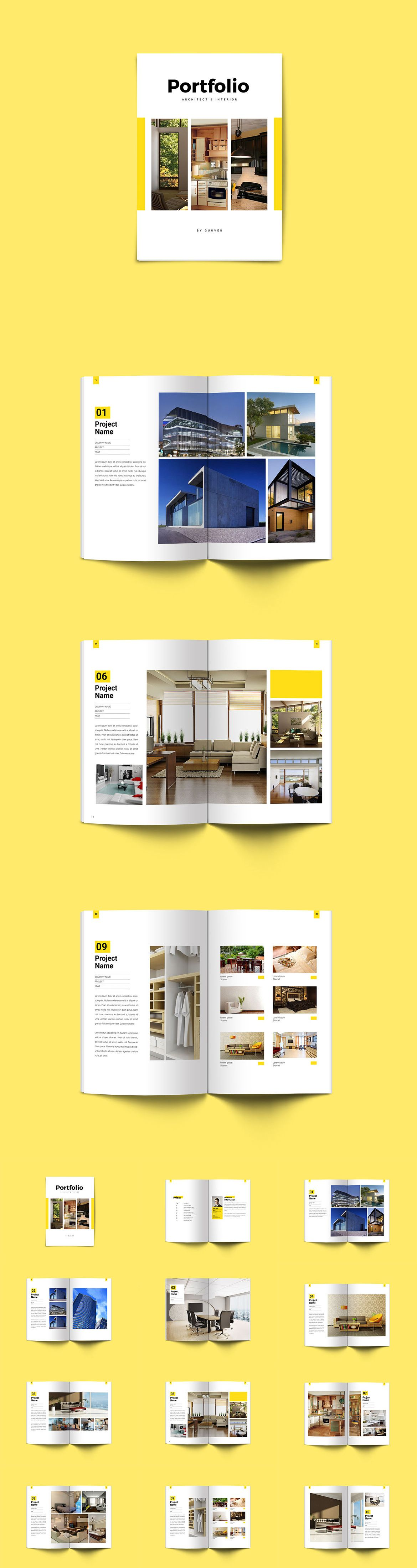 Minimal Interior Architecture Portfolio Brochure Template InDesign INDD