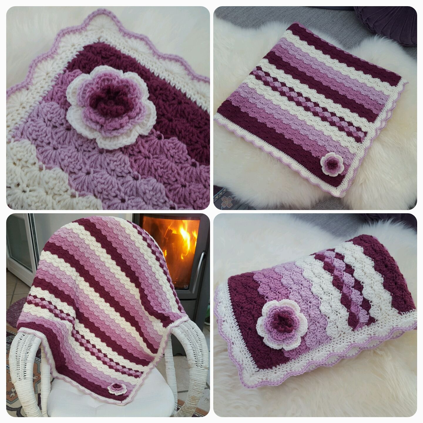 Crocheted shell stitch baby girl blanket made with Drops baby merino ...