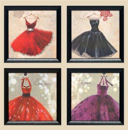 Amazon.com - Glamour 4 pack framed 14x14 fashion womens bedroom art ...