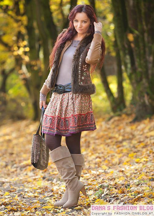 Ethno Look Fur Den Herbst Bunte Rocke Fellwesten Wildleder Boots