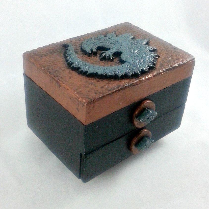 Godzilla Jewelry Box Polymer Clay And Wood Box With Drawer Boxes