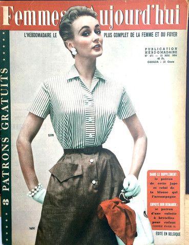 may 1954 french fashion magazine femmes aujourd'hui ..lots of