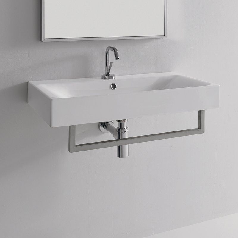 You Ll Love The Cento Ceramic 27 6 Amp Quot Wall Mount Bathroom Sink With Overf Wall Mounted Bathroom Sinks Contemporary Bathroom Sinks Modern Bathroom Vanity