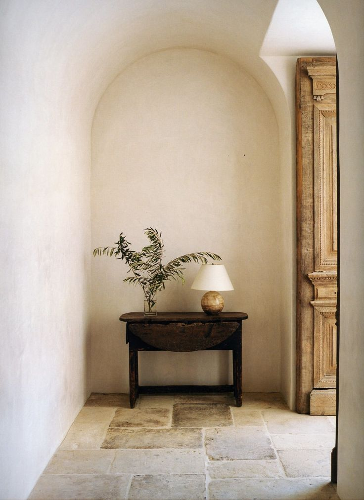 love the niche and the stone floors | via Bungalow Classic ...