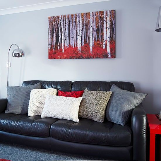 Modern grey and red living room decorating housetohome Red and grey sofa