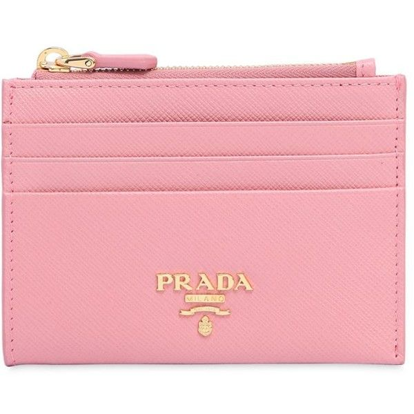 1ef5d8e6679 Prada Women Saffiano Leather Zip Card Holder (1,300 SAR) ❤ liked on  Polyvore featuring bags, wallets, pink, zip wallet, card carrier wallet, prada  wallet, ...