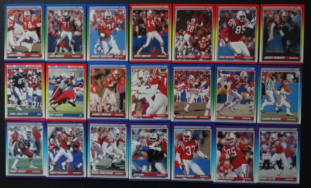 1990 Score New England Patriots Team Set of 21 Football