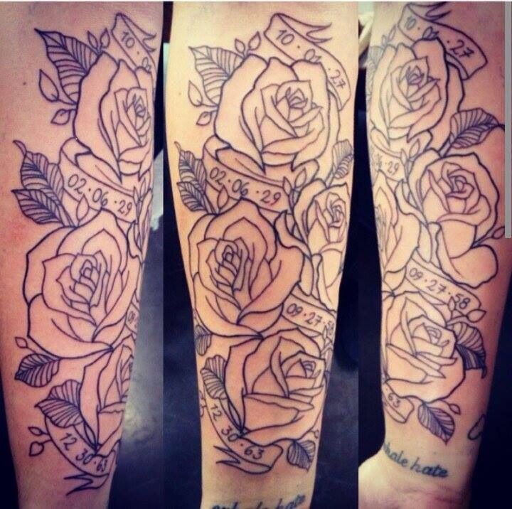 Rose Tattoo Sleeve Outline New tatty!! Ros...
