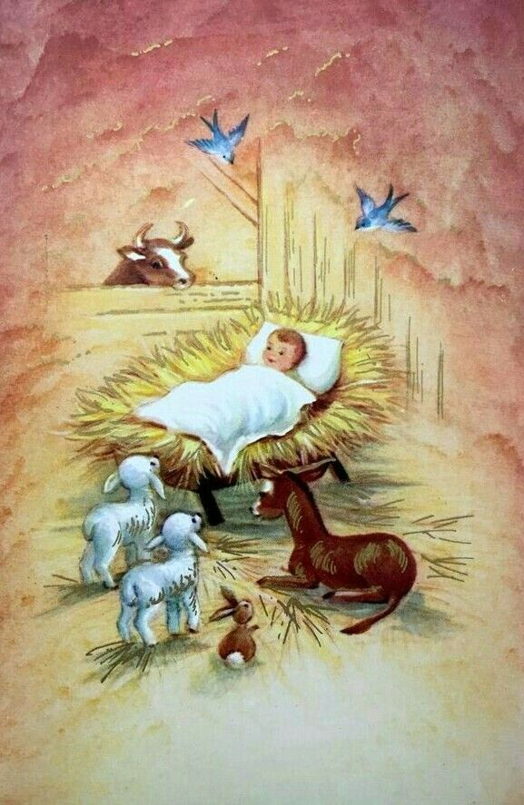 Pin by mary horvath on vintage christmas cards pinterest vintage nos vintage christmas card baby jesus manger barn mule cow lamb bunny bluebirds m4hsunfo