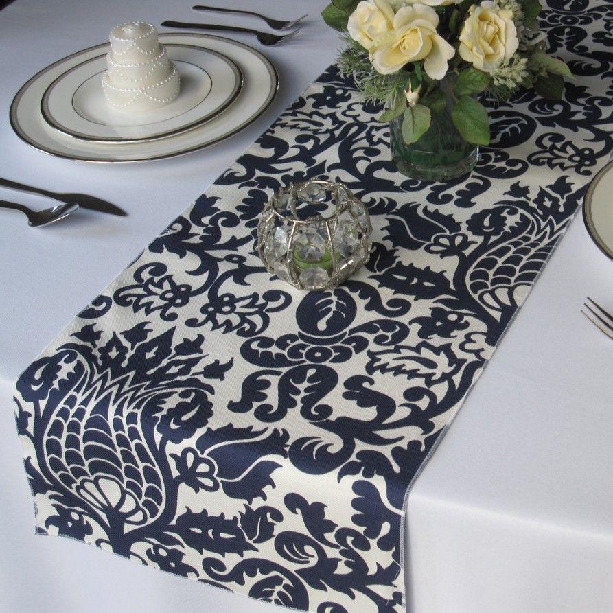 Captivating Amsterdam Navy Blue On White Damask Table Runner (cotton Slub). $12.00, Via