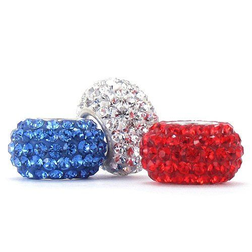 Set of 3 - Bella Fascini Red / White / Blue Crystal Pave Sparklers - Special Patriotic Flag Color Mix - Solid .925 Sterling Silver Core European Charm Bead Made with Authentic SWAROVSKI Crystals - Compatible Brand Bracelets : Authentic Pandora, Chamilia, Moress, Troll, Ohm, Zable, Biagi, Kay's Charmed Memories, Kohl's, Persona  more! Bella Fascini Beads