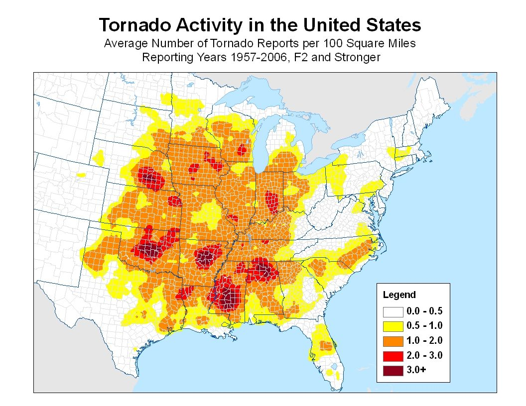1000 Tornadoes Occur In The Usa Each Year Lately There Seems To Be - Us-tornado-map