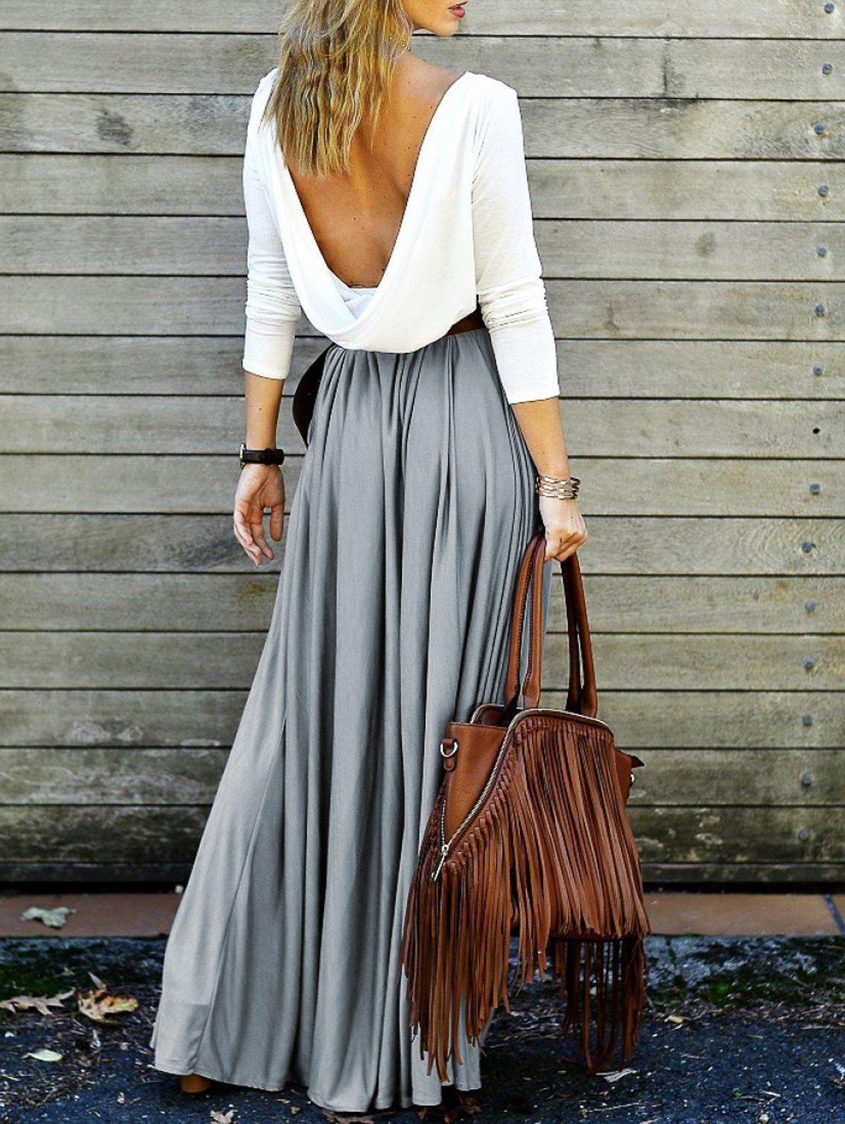 Backless long sleeve maxi pleated prom dress lè wardrobe siorée