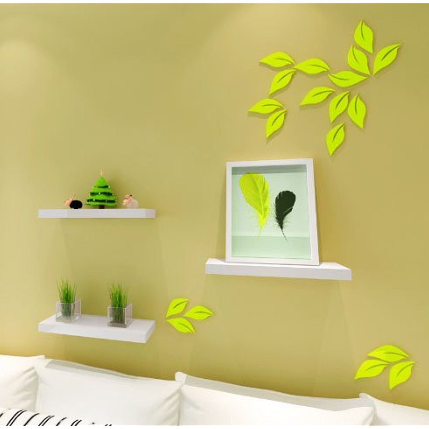 3D Leaves Wall Stickers, DIY Removable Wooden Leaf Wall Decor ...