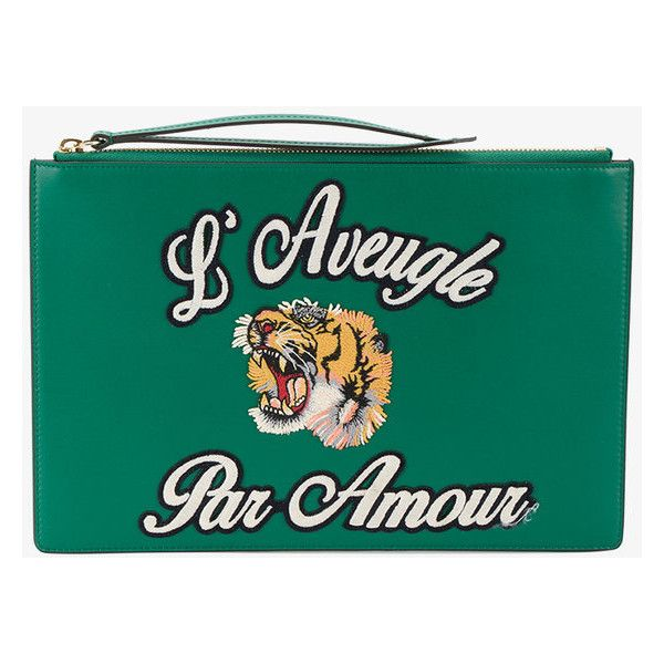 Gucci  L'Aveugle par Amour pouch ($655) ❤ liked on Polyvore featuring home, home decor, green, zipper pouch, gucci, gucci pouch, green home decor and zip pouch