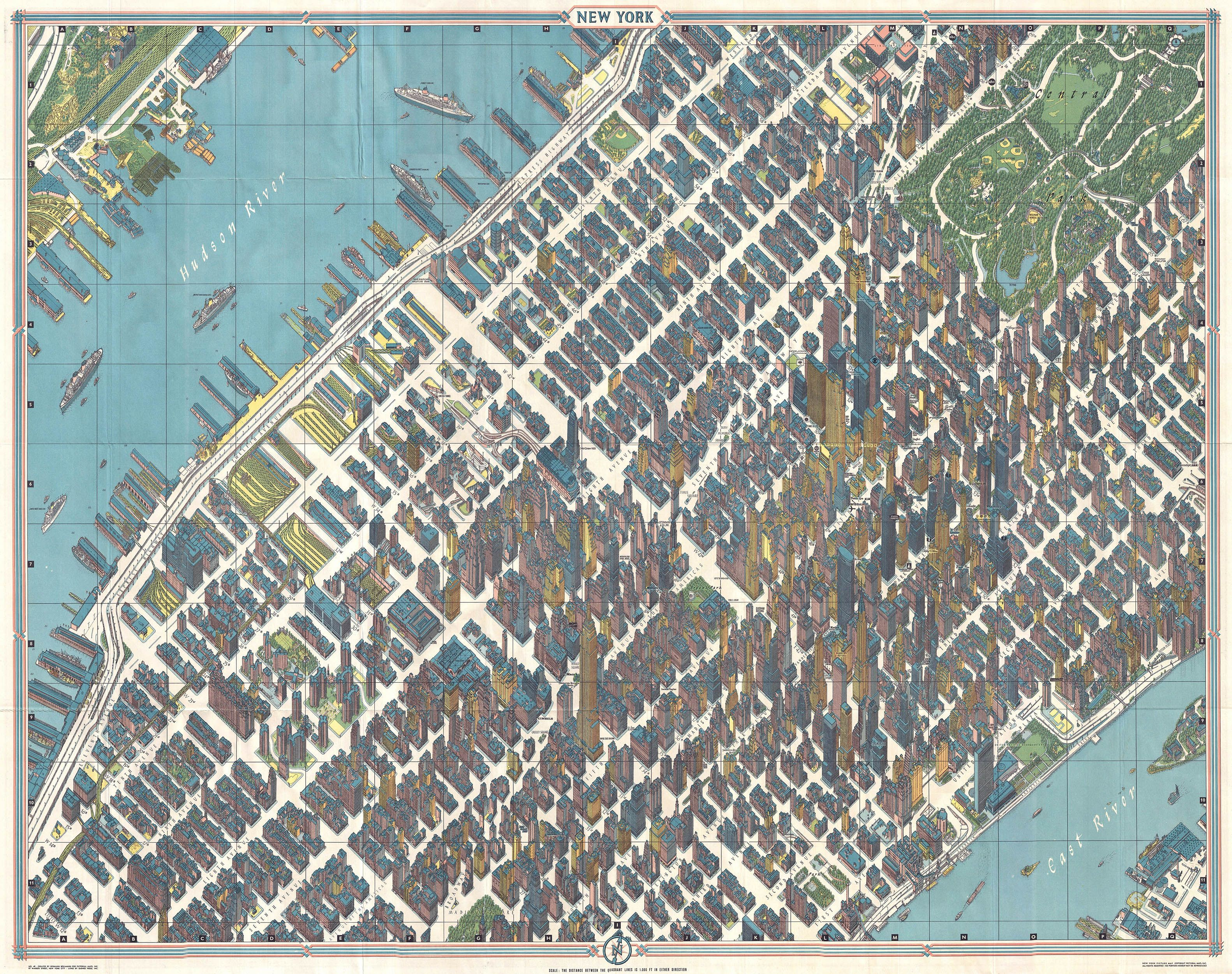 Map Of Oregon State Fairgrounds%0A Rare Antique Maps       Bollmann View and Map of New York City  Midtown    Geographicus