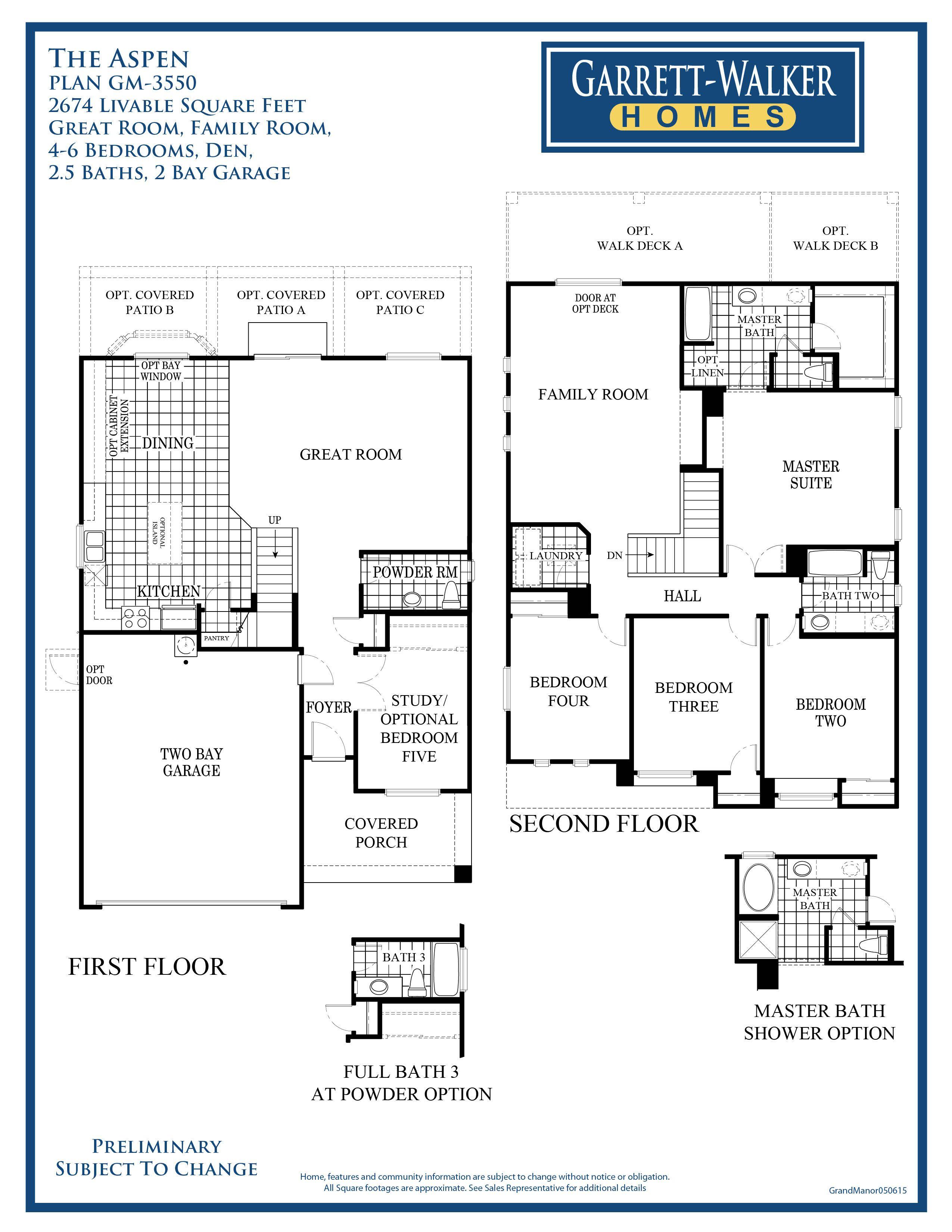 garrett walker homes grand manor community this floor plan shows