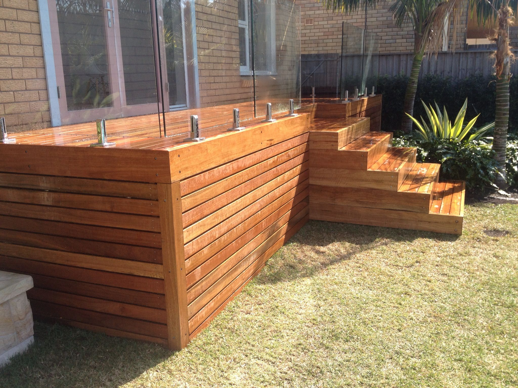 Spotted Gum Deck With Glass Balustrade Hardwooddeck