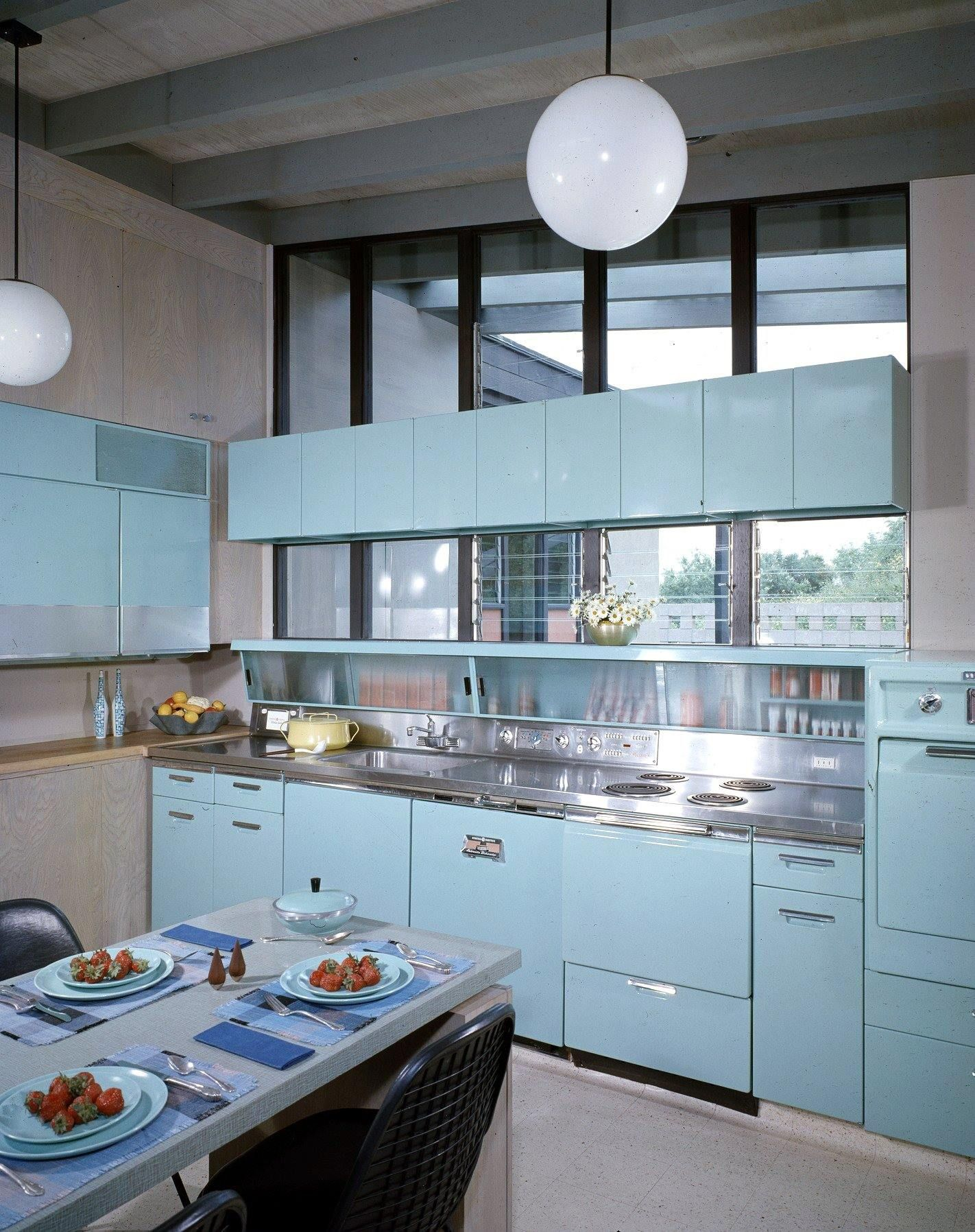 Pale blue kitchen of the Haddad House. Located in Los Angeles, California it was designed by architect David Hyun and built in 1958. Photo: Shulman / Getty.