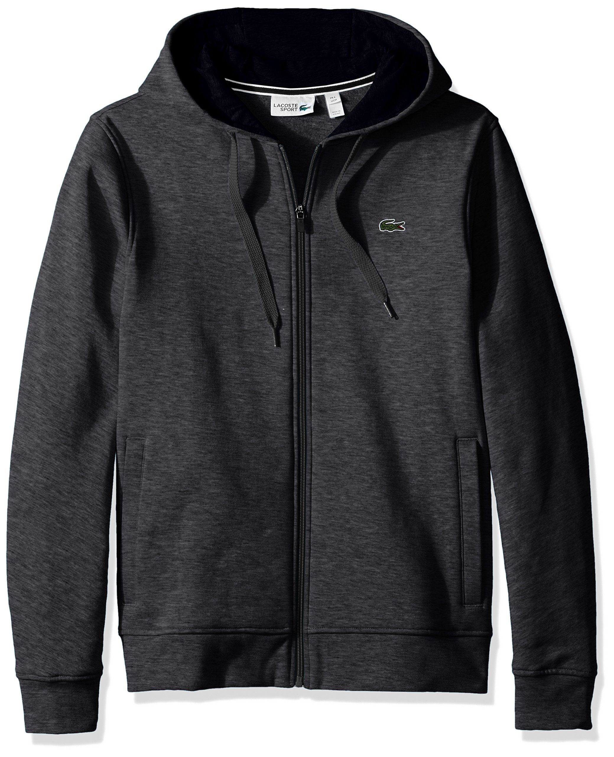 Lacoste Men's Sport Full Zip Hoodie Fleece Sweatshirt, Pitch/Navy ...