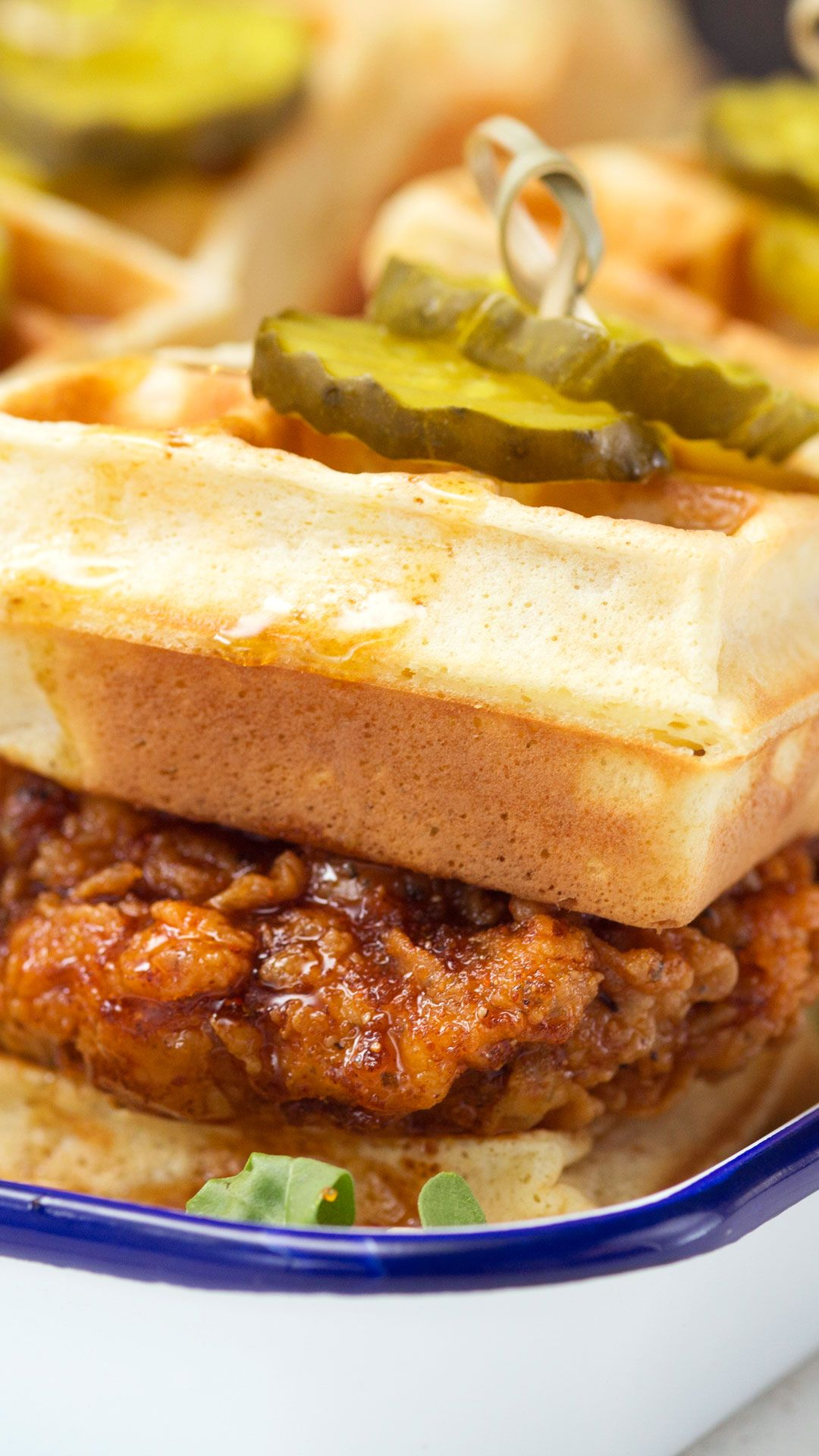 Hot Chicken and Waffle Sliders Give your chicken and waffles a kick in the mouth with the addition of cayenne pepper and hot sauce to the mix.