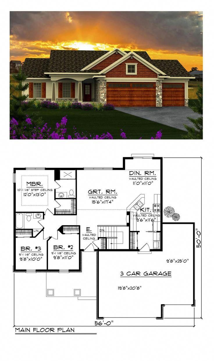 Ranch Style House Plan 96120 with 3 Bed , 2 Bath , 3 Car