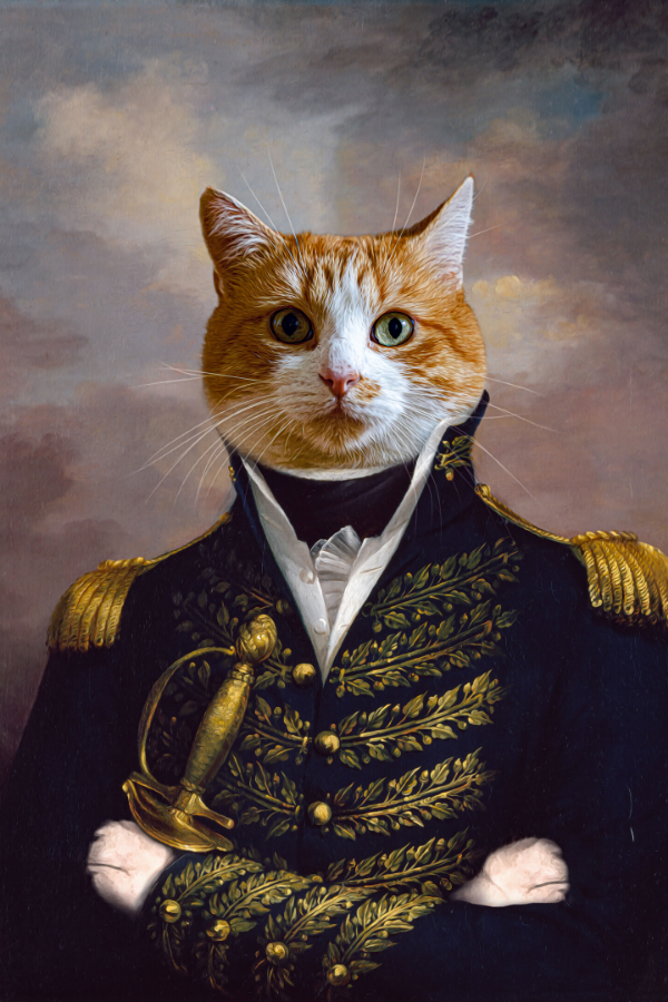 Custom Royal Pet Portrait from Photo In The UK Cat and Dog Canvas Wall Art