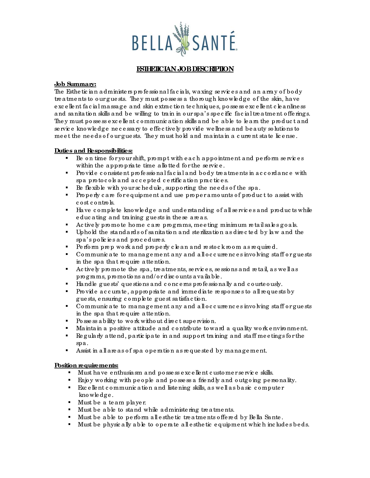 resume examples for esthetician