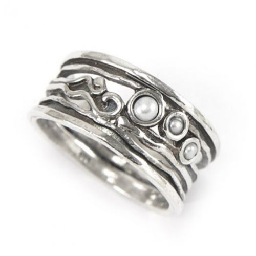 Israeli Hand Made Silver Ring With Pearls WomenS Jewellery eBay