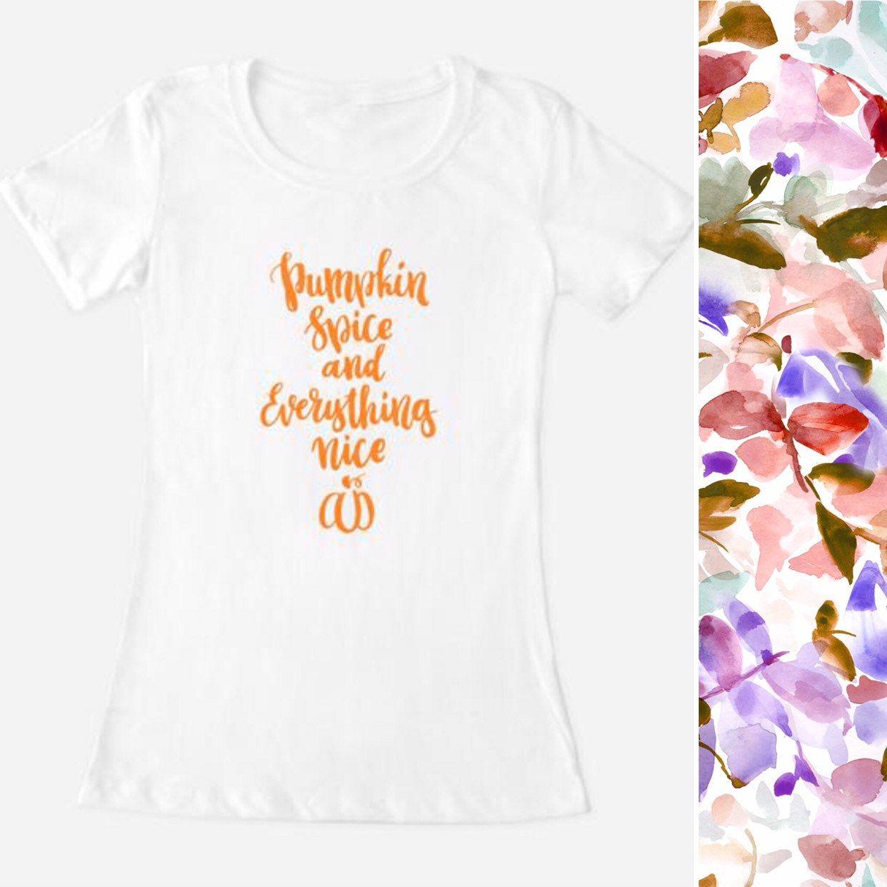 "Women's Ladies Crew neck teen tee top shirt T ""Pumpkin Spice and Everything Nice"" Orange Halloween Fall boho Chic Fashion Back to School 1"