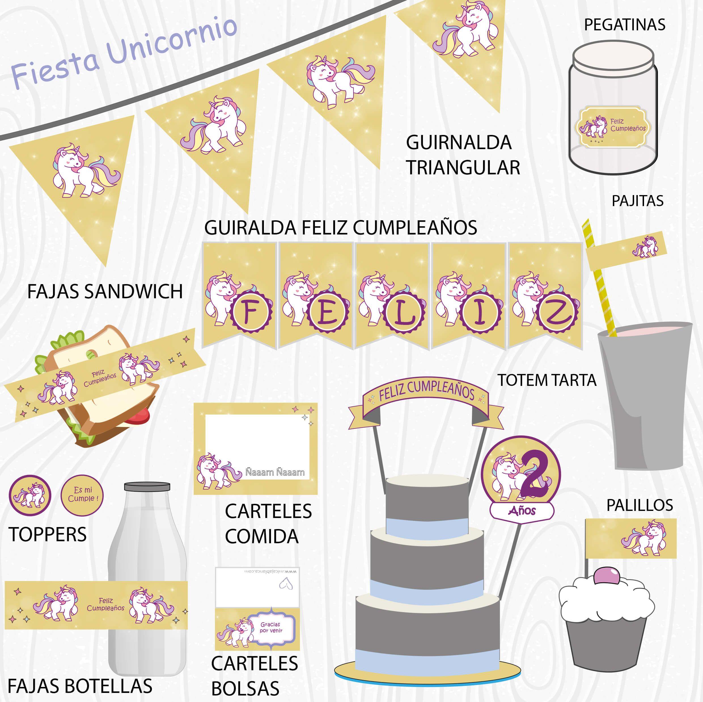Imprimible Digital Unicornio Etiquetas y forros para con los ...