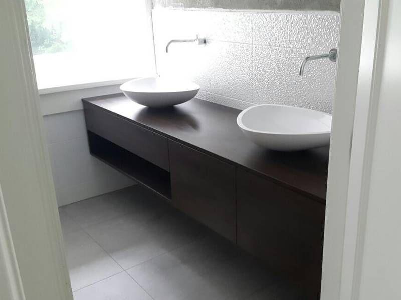 Badkamermeubel zwevend eiken design waskommen   badkamer   Pinterest
