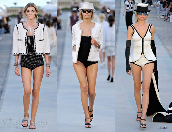 chanel resort 2011-2012 bikini swimwear - ready-to-wear cruise collection - black and white monochromatic swimsuits, pool-side cover-ups, sunglasses, jackets and hats