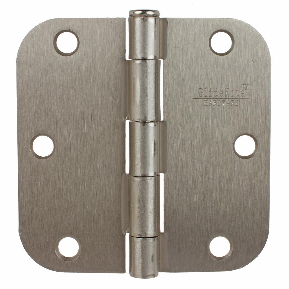 Gliderite 3 1 2 In Satin Nickel Steel Door Hinge 5 8 In Corner Radius With Screws 12 Pack 3558 Sn 12 Door Hinges Steel Doors Doors