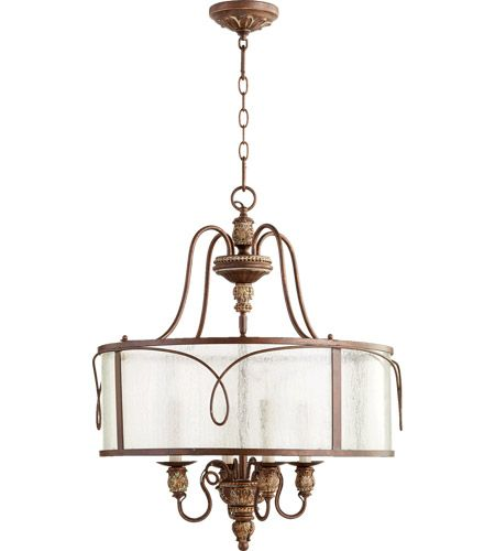 Quorum 8006 4 39 Salento 4 Light 22 Inch Vintage Copper Pendant Ceiling Light Ceiling Pendant Lights Vintage Copper Glass Shades