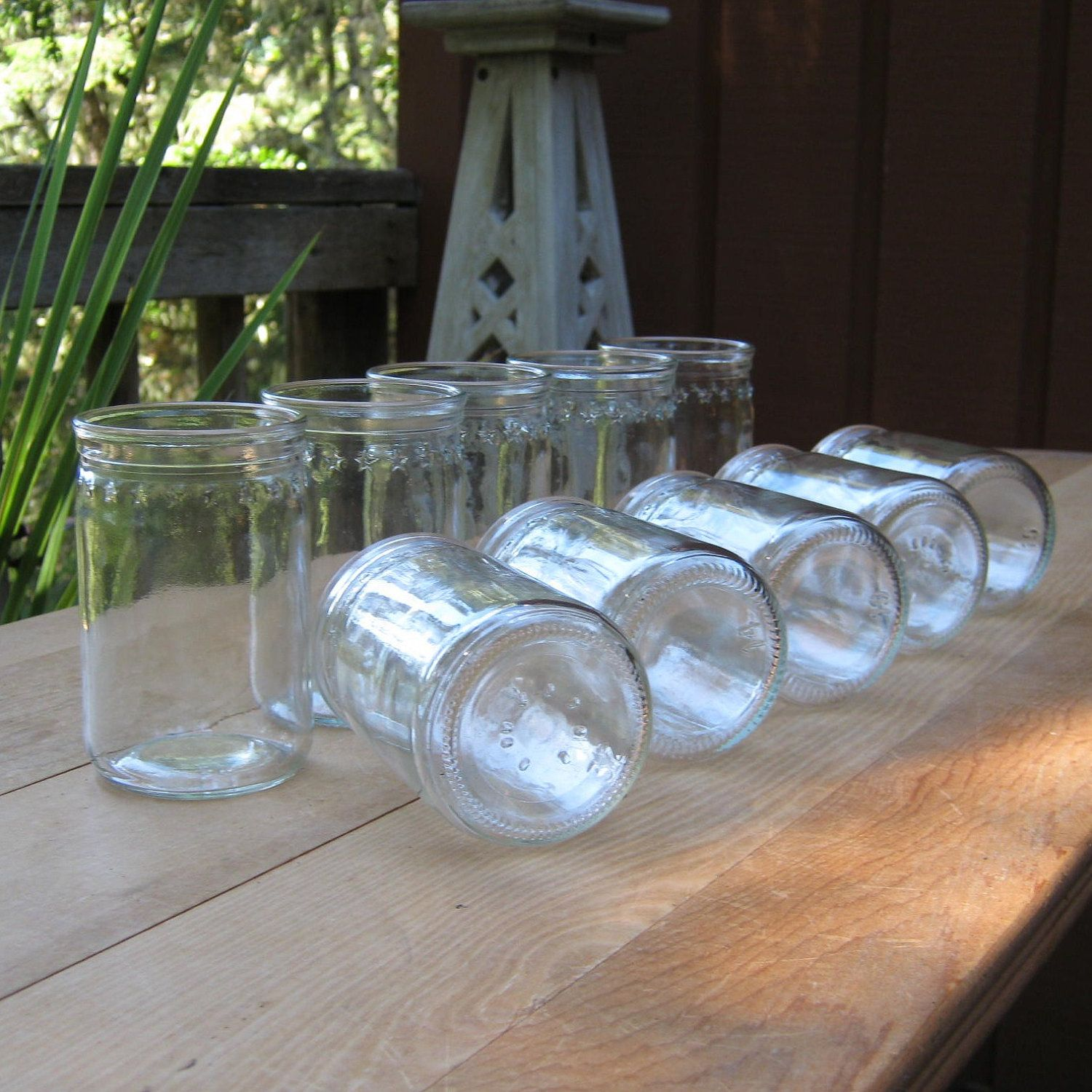 Set of 10 Jelly Jar Glasses With Stars.