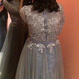 victory bridal hochwertig silber spitze langarm abendkleider ballkleider partykleider