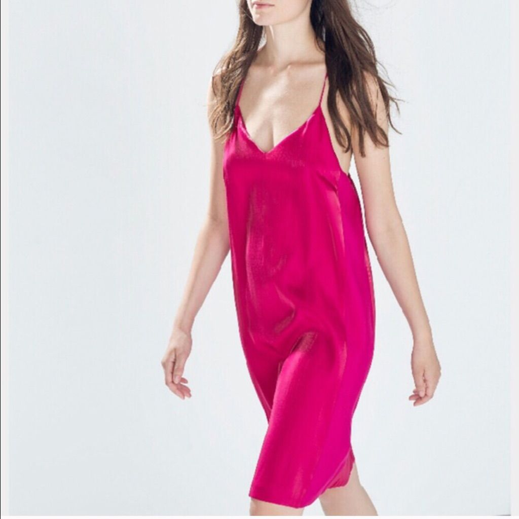 0264e205 Zara Magenta Dress Size Xs | Products | Pink satin dress, Satin ...